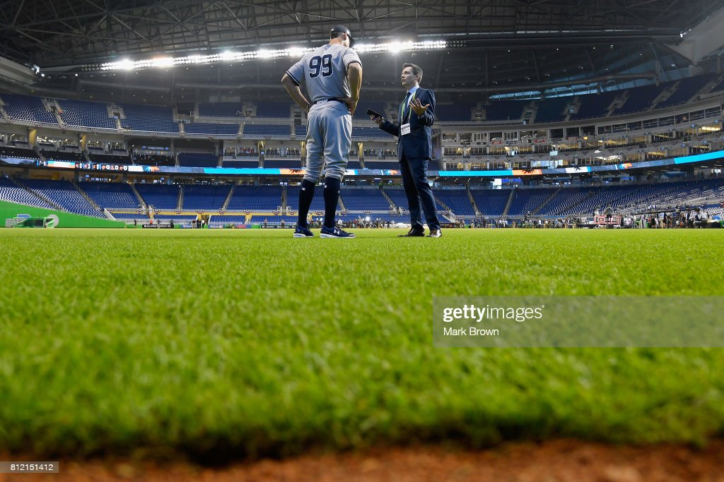 Aaron Judge #99 of the New York Yankees and the American League is interviewed during Gatorade All-Star Workout Day ahead of the 88th MLB All-Star Game at Marlins Park on July 10, 2017 in Miami, Florida.