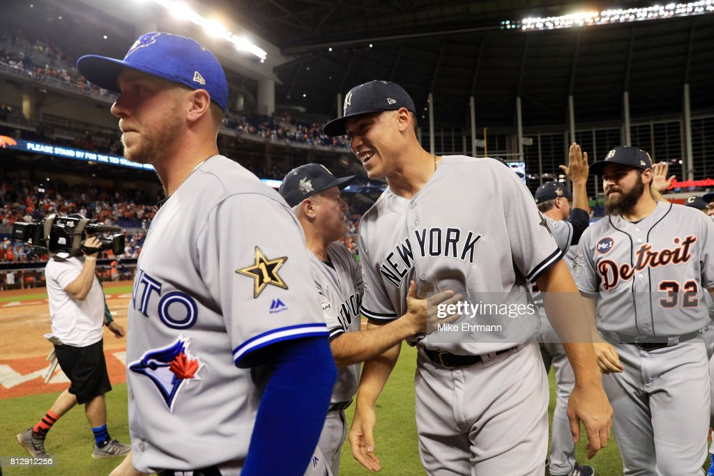 Aaron Judge #99 of the New York Yankees and the American League celebrates defeating the National League 2-1 in the 88th MLB All-Star Game at Marlins Park on July 11, 2017 in Miami, Florida.
