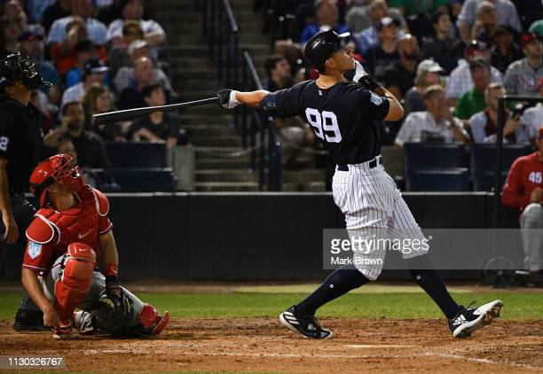 Aaron Judge of the New York Yankees at bat in the fifth inning during the spring training game against the Philadelphia Phillies at Steinbrenner...