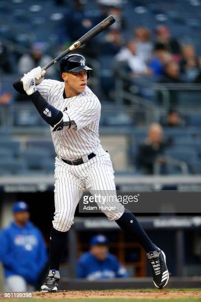 Aaron Judge of the New York Yankees bats against the Toronto Blue Jays during the first inning at Yankee Stadium on April 19 2018 in the Bronx...