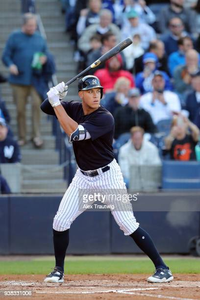 Aaron Judge of the New York Yankees bats during a game against the Baltimore Orioles on Wednesday March 21 2018 at George M Steinbrenner Field in...