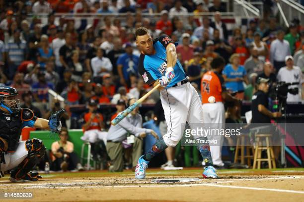 Aaron Judge of the New York Yankees bats during the 2017 TMobile Home Run Derby at Marlins Park on Monday July 10 2017 in Miami Florida