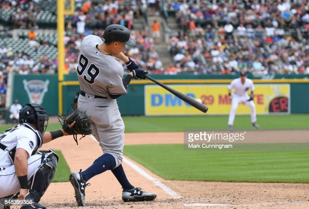 Aaron Judge of the New York Yankees bats during the game against the Detroit Tigers at Comerica Park on August 24 2017 in Detroit Michigan The Tigers...