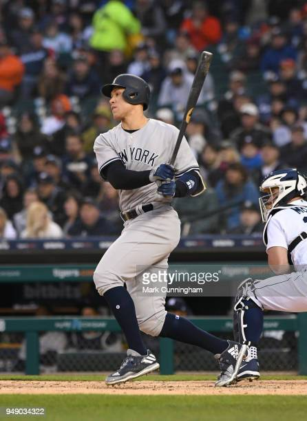 Aaron Judge of the New York Yankees bats during the game against the Detroit Tigers at Comerica Park on April 13 2018 in Detroit Michigan The Yankees...