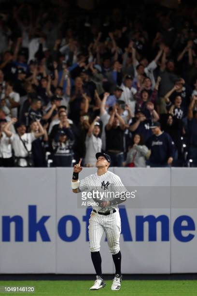 Aaron Judge of the New York Yankees celebrates after defeating the Oakland Athletics by a score of 72 to win the American League Wild Card Game at...