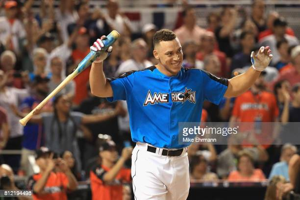Aaron Judge of the New York Yankees celebrates after winning the T-Mobile Home Run Derby at Marlins Park on July 10, 2017 in Miami, Florida.