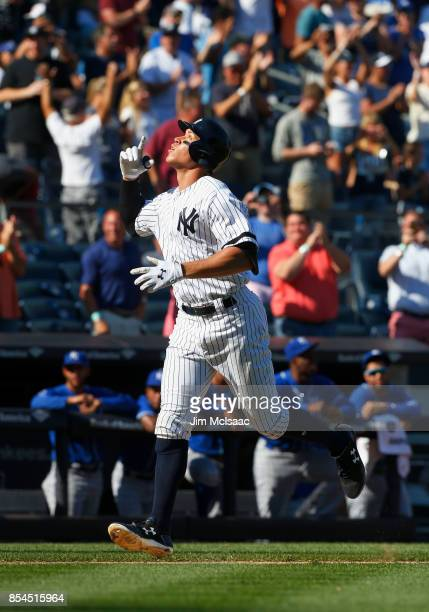 Aaron Judge of the New York Yankees celebrates his seventh inning home run against the Kansas City Royals at Yankee Stadium on September 25 2017 in...