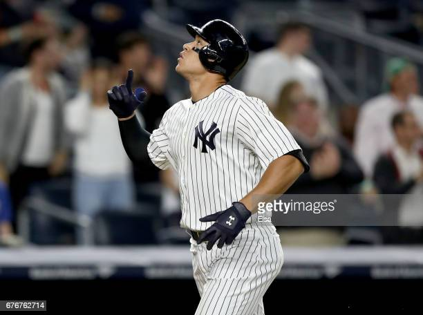 Aaron Judge of the New York Yankees celebrates his three run home run in the seventh inning against the Toronto Blue Jays on May 2 2017 at Yankee...
