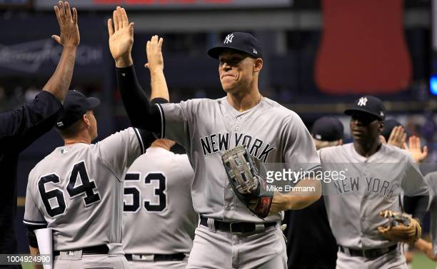 Aaron Judge of the New York Yankees celebrates winning a game against the Tampa Bay Rays at Tropicana Field on July 24 2018 in St Petersburg Florida