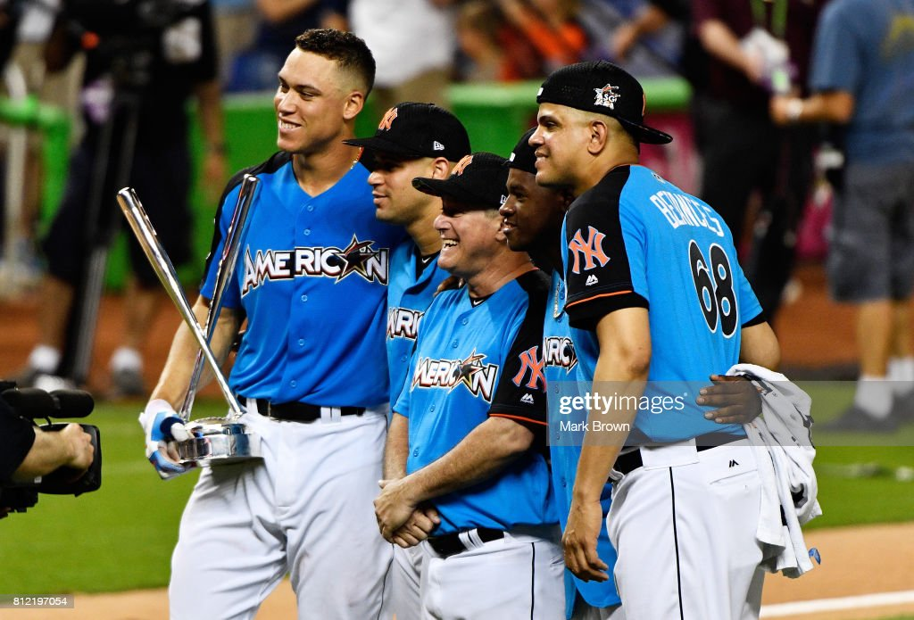 Aaron Judge #99 of the New York Yankees celebrates with teammates after winning the T-Mobile Home Run Derby at Marlins Park on July 10, 2017 in Miami, Florida.