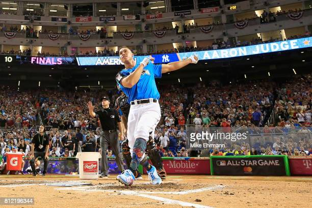 Aaron Judge of the New York Yankees competes in the final round of the TMobile Home Run Derby at Marlins Park on July 10 2017 in Miami Florida