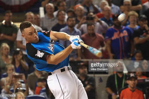 Aaron Judge of the New York Yankees competes in the TMobile Home Run Derby at Marlins Park on July 10 2017 in Miami Florida