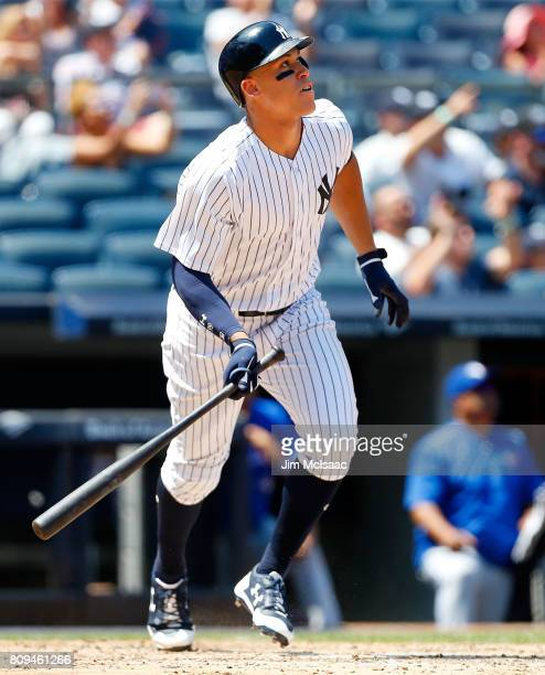 Aaron Judge of the New York Yankees connects on a fourth inning two run home run against the Toronto Blue Jays at Yankee Stadium on July 5 2017 in...
