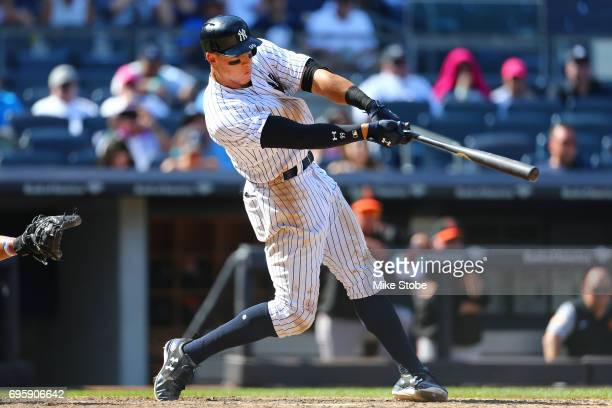 Aaron Judge of the New York Yankees connects on his second home run of th egame against the Baltimore Orioles at Yankee Stadium on June 11 2017 in...