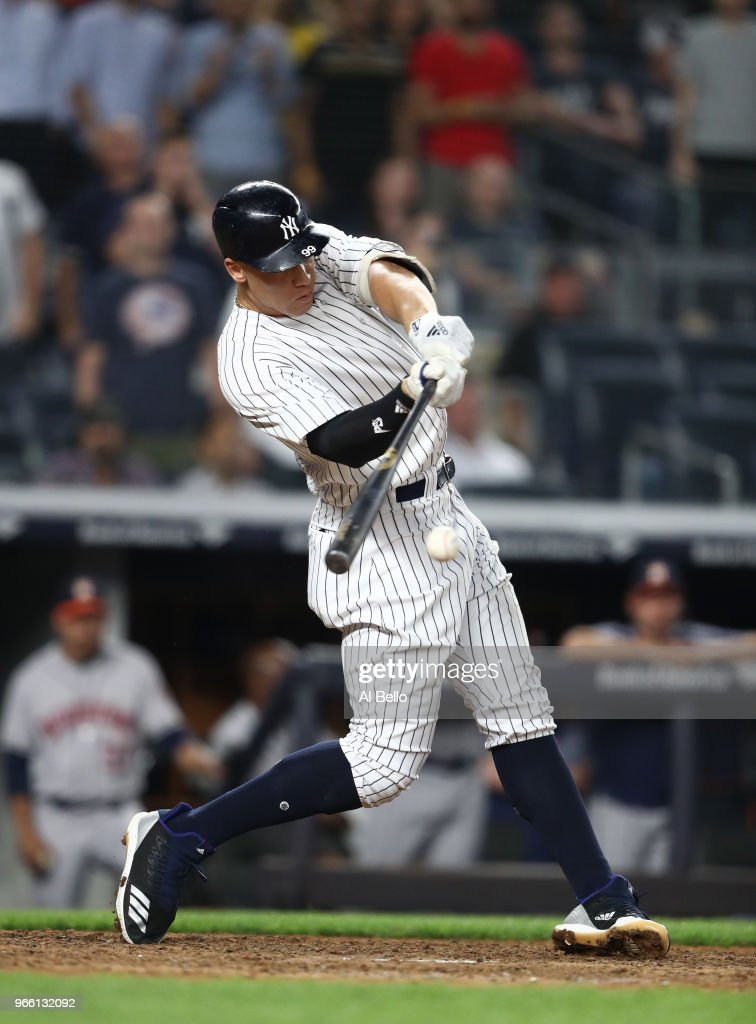 Aaron Judge #99 of the New York Yankees doubles in the ninth inning against the Houston Astros during their game at Yankee Stadium on May 29, 2018 in New York City.