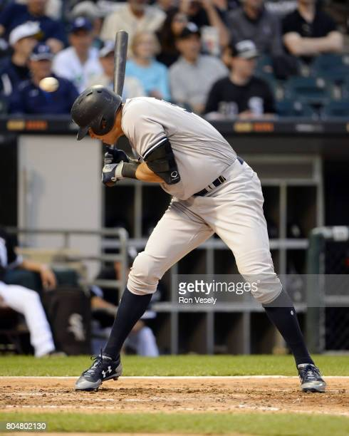 Aaron Judge of the New York Yankees ducks to avoid a high inside pitch during the game against the Chicago White Sox on June 28 2017 at Guaranteed...