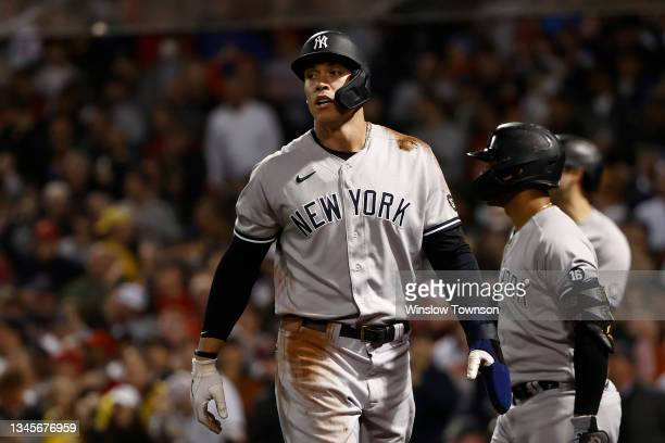 Aaron Judge of the New York Yankees during the AL Wild Card playoff game against the Boston Red Sox at Fenway Park on October 6, 2021 in Boston,...