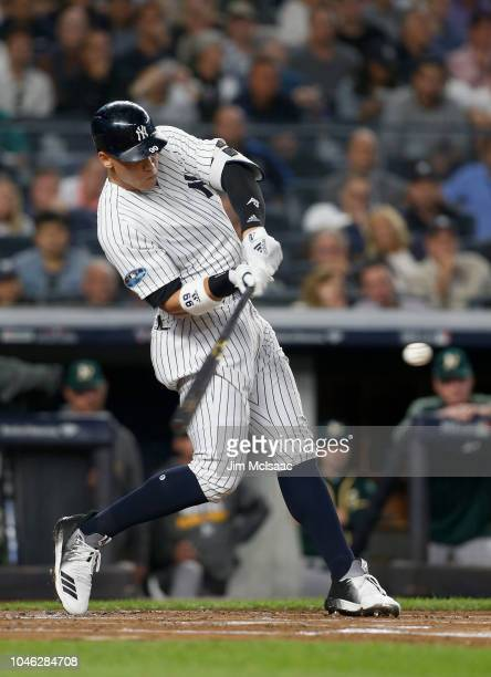 Aaron Judge of the New York Yankees first inning two run home run against the Oakland Athletics in the American League Wild Card Game at Yankee...
