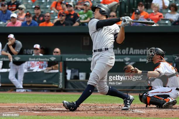 Aaron Judge of the New York Yankees follows his two RBI home run against the Baltimore Orioles in the first inning at Oriole Park at Camden Yards on...