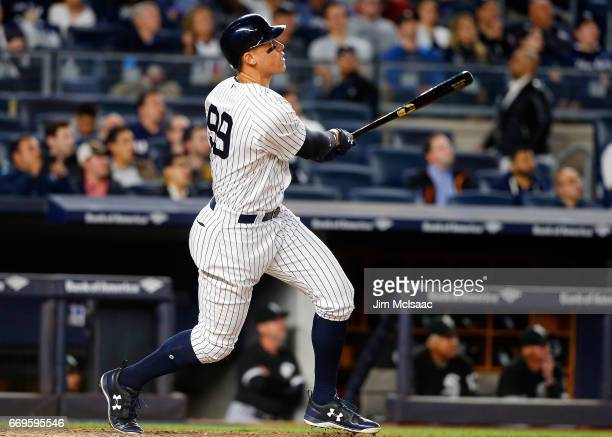 Aaron Judge of the New York Yankees follows through on a fifthinning tworun home run against the Chicago White Sox at Yankee Stadium on April 17 2017...