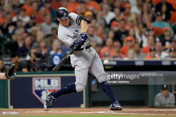 Aaron Judge of the New York Yankees grounds out to third base against the Houston Astros during the first inning in Game Seven of the American League...