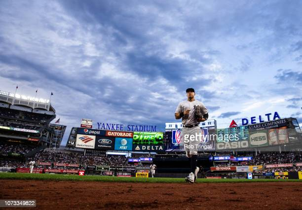 Aaron Judge of the New York Yankees heads to the dugout during the game against the Baltimore Orioles at Yankee Stadium on Saturday September 22 2018...