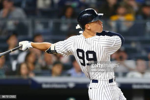 Aaron Judge of the New York Yankees hits a 3run home run in the fifth inning against the Oakland Athletics at Yankee Stadium on May 11 2018 in the...