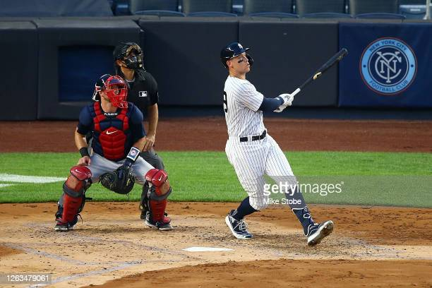 Aaron Judge of the New York Yankees hits a \3-run home run in the second inning against the Boston Red Sox at Yankee Stadium on August 02, 2020 in...