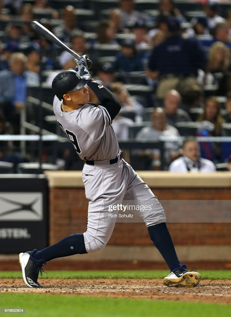 Aaron Judge #99 of the New York Yankees hits a home run against the New York Mets during the eighth inning of a game at Citi Field on June 9, 2018 in the Flushing neighborhood of the Queens borough of New York City.