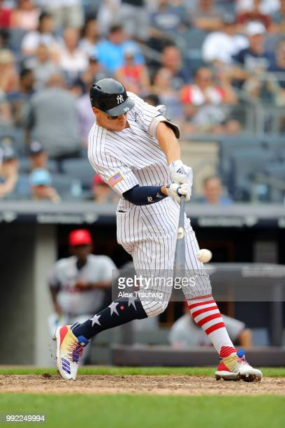 Aaron Judge of the New York Yankees hits a home run during a game against the Atlanta Braves at Yankee Stadium on Wednesday July 4 2018 in the Bronx...