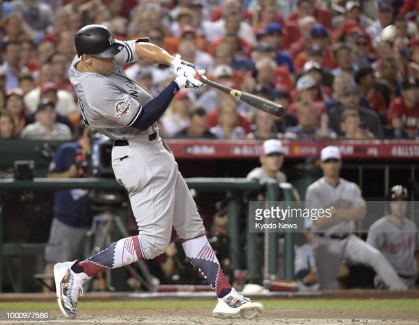 Aaron Judge of the New York Yankees hits a homer during the second inning of the Major League Baseball AllStar Game at Nationals Park in Washington...