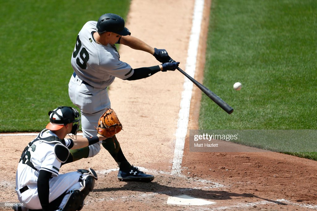 Aaron Judge #99 of the New York Yankees hits a solo home run against the Baltimore Orioles during the seventh inning at Oriole Park at Camden Yards on May 29, 2017 in Baltimore, Maryland. MLB players across the league are wearing special uniforms to commemorate Memorial Day.