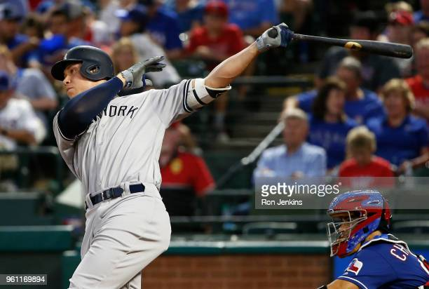 Aaron Judge of the New York Yankees hits a solo home run against the Texas Rangers during the fifth inning at Globe Life Park on May 21 2018 in...