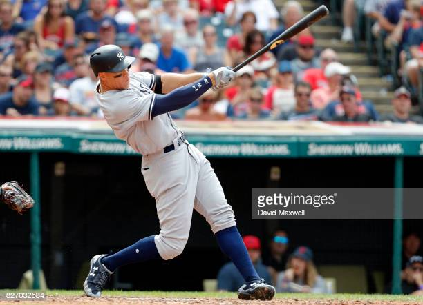 Aaron Judge of the New York Yankees hits a three run home run in the seventh inning off of Mike Clevinger of the Cleveland Indians at Progressive...