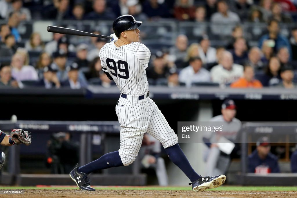 Aaron Judge #99 of the New York Yankees hits a two run home run against Jose Berrios #17 of the Minnesota Twins during the fourth inning in the American League Wild Card Game at Yankee Stadium on October 3, 2017 in the Bronx borough of New York City.