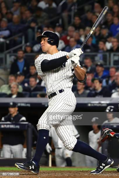 Aaron Judge of the New York Yankees hits a two run home run against Jose Berrios of the Minnesota Twins during the fourth inning in the American...