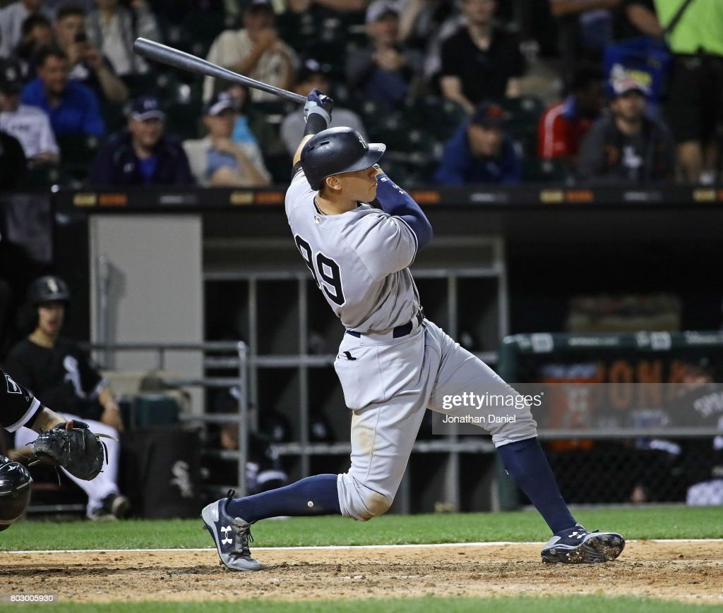 Aaron Judge #99 of the New York Yankees hits a two run home run in the 6th inning against the Chicago White Sox at Guaranteed Rate Field on June 28, 2017 in Chicago, Illinois.