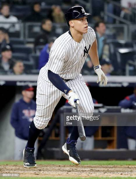 Aaron Judge of the New York Yankees hits a two run home run in the seventh inning against the Minnesota Twins at Yankee Stadium on April 24 2018 in...