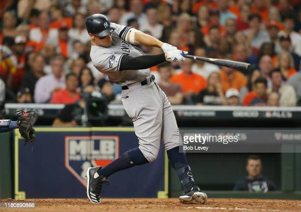 Aaron Judge of the New York Yankees hits a tworun home run during the fourth inning against the Houston Astros in game two of the American League...
