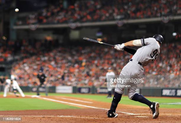 Aaron Judge of the New York Yankees hits a two-run home run during the fourth inning against the Houston Astros in game two of the American League...