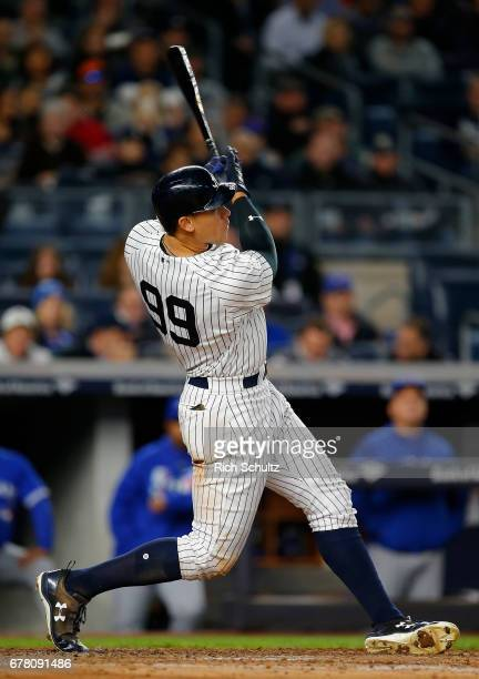 Aaron Judge of the New York Yankees hits a tworun home run in the third inning against the Toronto Blue Jays during a game at Yankee Stadium on May 3...