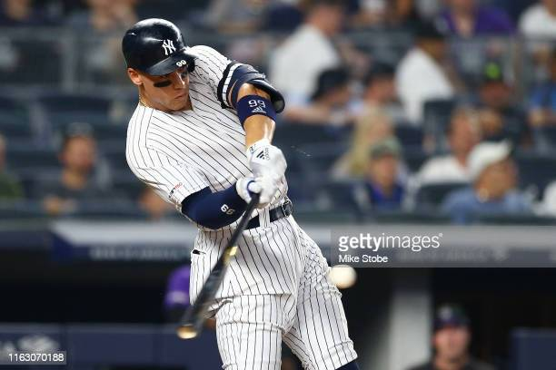 Aaron Judge of the New York Yankees hits a tworun home run to right field in the sixth inning against the Colorado Rockies at Yankee Stadium on July...