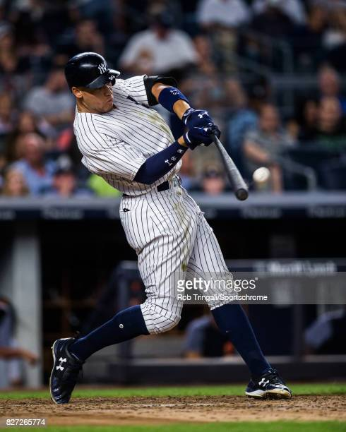 Aaron Judge of the New York Yankees hits his 34th home run in the fifth inning during the game against the Detroit Tigers at Yankee Stadium on July...