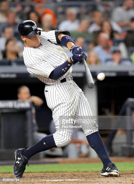 Aaron Judge of the New York Yankees hits his 34th home run of the season in the 5th inning in an MLB baseball game against the Detroit Tigers on July...
