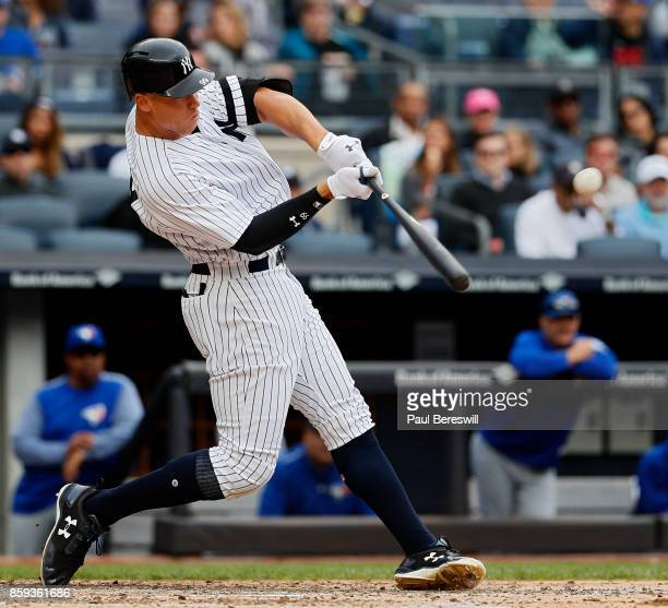 Aaron Judge of the New York Yankees hits his 52nd home run of the season in the 4th inning of an MLB baseball game against the Toronto Blue Jays on...