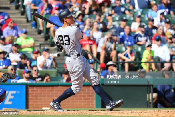 Aaron Judge of the New York Yankees hits his fortyfirst career home run in the sixth inning against the Texas Rangers at Globe Life Park in Arlington...
