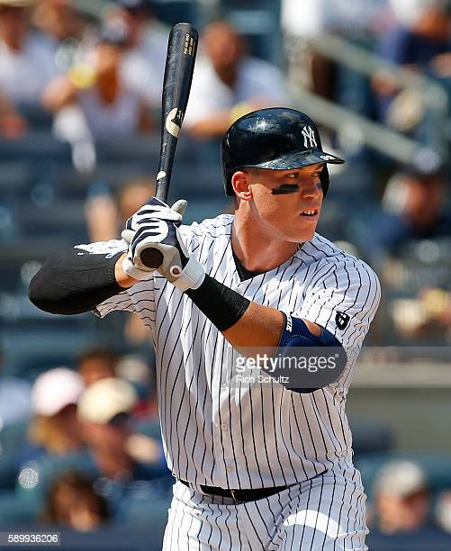 Aaron Judge of the New York Yankees in action against of the Tampa Bay Rays during the fifth inning of a game at Yankee Stadium on August 13 2016 in...