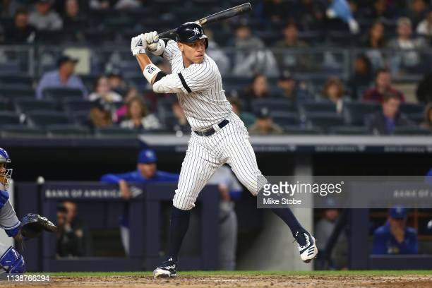 Aaron Judge of the New York Yankees in action against the Kansas City Royals at Yankee Stadium on April 19 2019 in New York City New York Yankees...