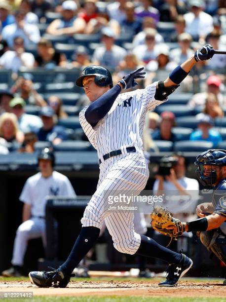 Aaron Judge of the New York Yankees in action against the Milwaukee Brewers at Yankee Stadium on July 9 2017 in the Bronx borough of New York City...