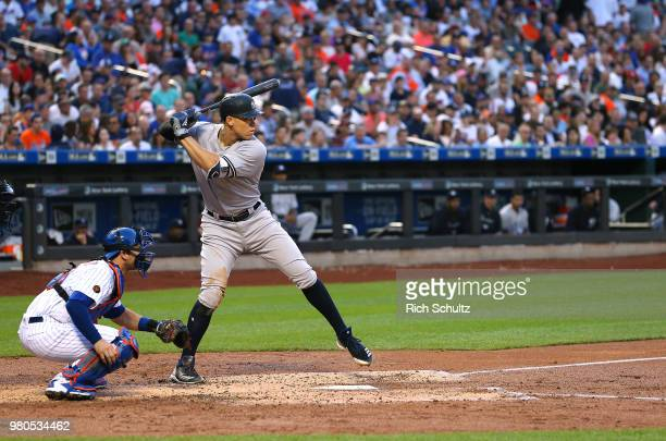 Aaron Judge of the New York Yankees in action against the New York Mets during a game at Citi Field on June 8 2018 in the Flushing neighborhood of...